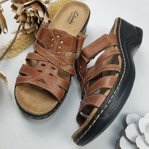 💝 Clarks Bendables -Brown Sandal loafer Wedge 9.5